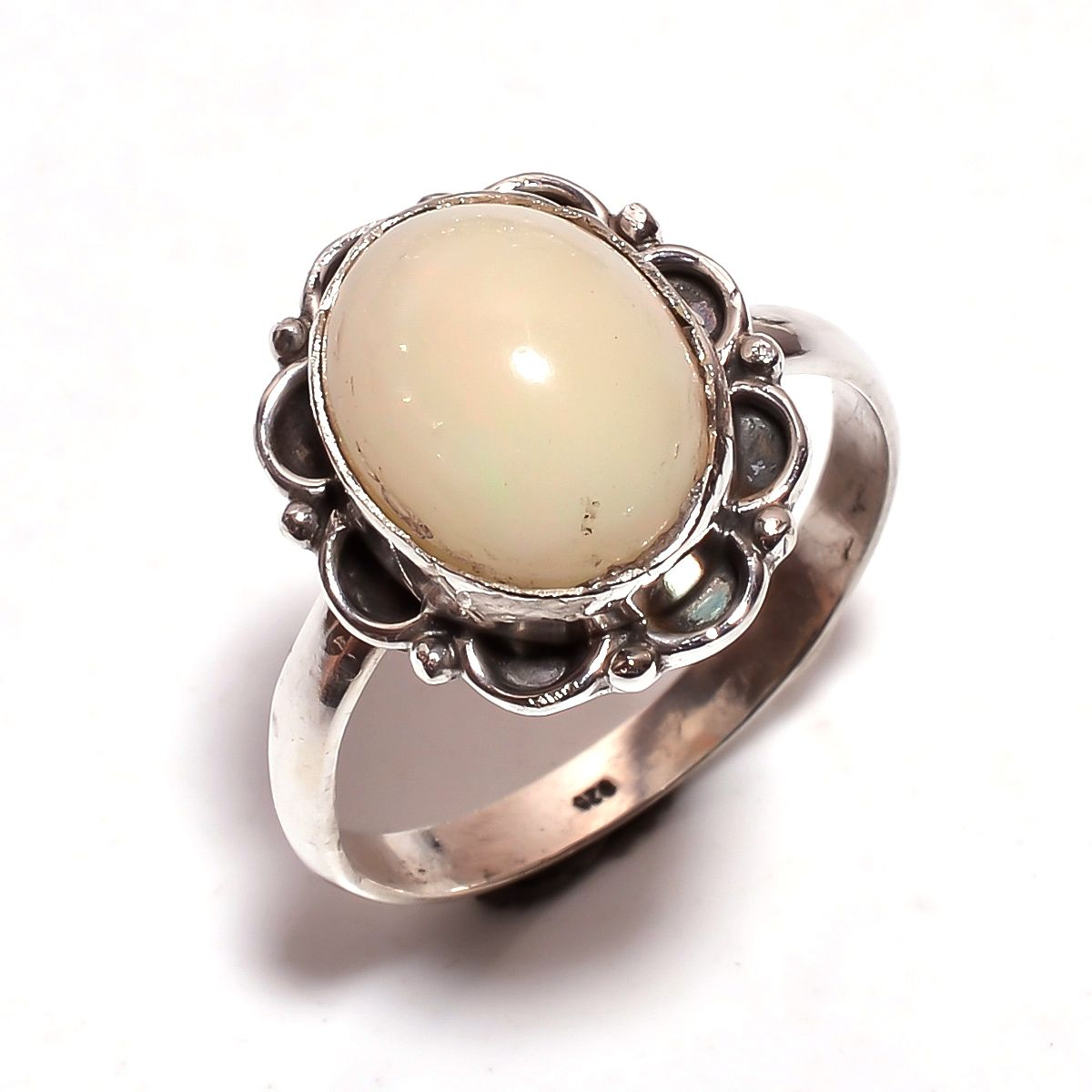 Ethiopian Opal Gemstone 925 Sterling Silver Ring Size 10.25