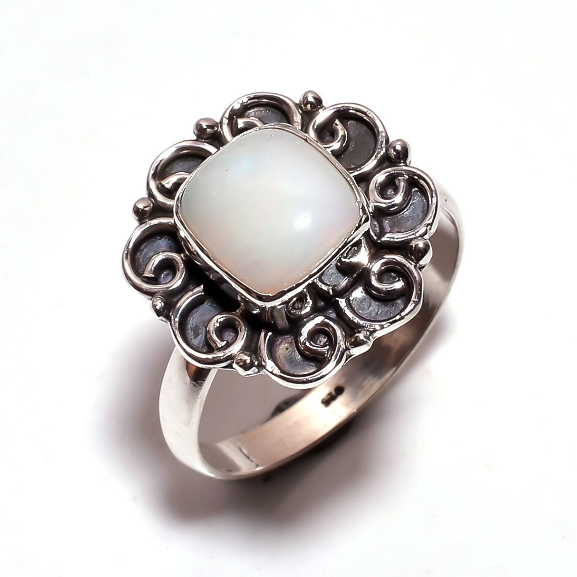Ethiopian Opal Gemstone 925 Sterling Silver Ring Size 8.25