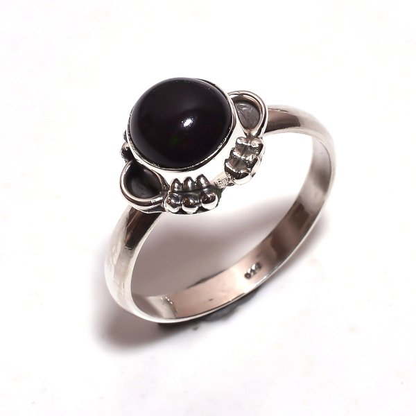 Ethiopian Black Opal Gemstone 925 Sterling Silver Ring Size 8.25