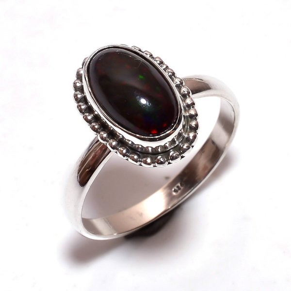 Ethiopian Black Opal Gemstone 925 Sterling Silver Ring Size 10.5