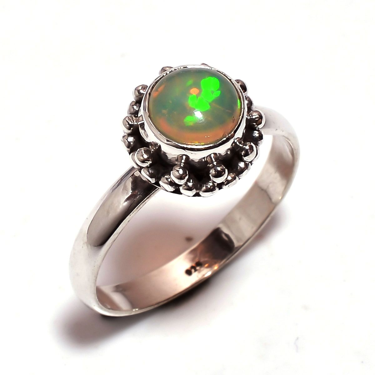 Ethiopian Opal Gemstone 925 Sterling Silver Ring Size 7.25