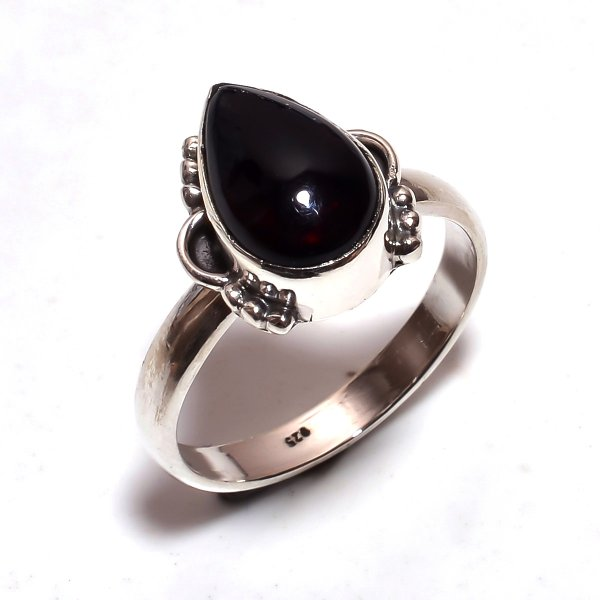 Ethiopian Black Opal Gemstone 925 Sterling Silver Ring Size 7.5