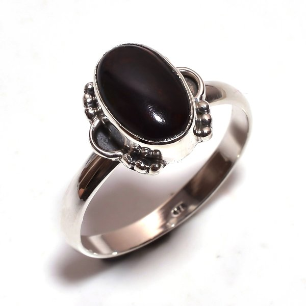 Ethiopian Black Opal Gemstone 925 Sterling Silver Ring Size 9.25