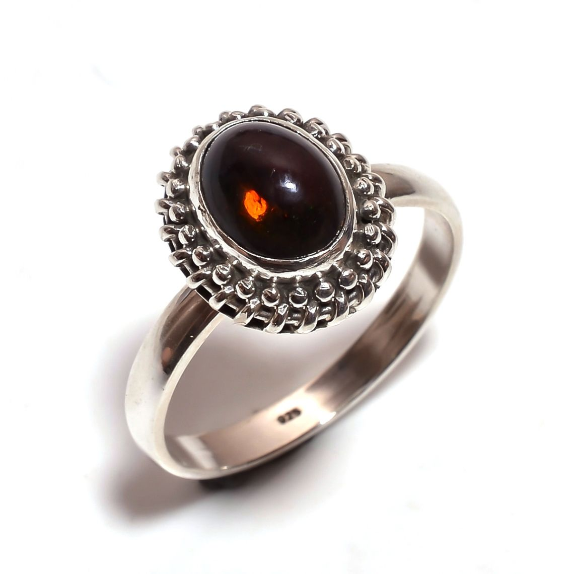 Ethiopian Black Opal Gemstone 925 Sterling Silver Ring Size 9.5