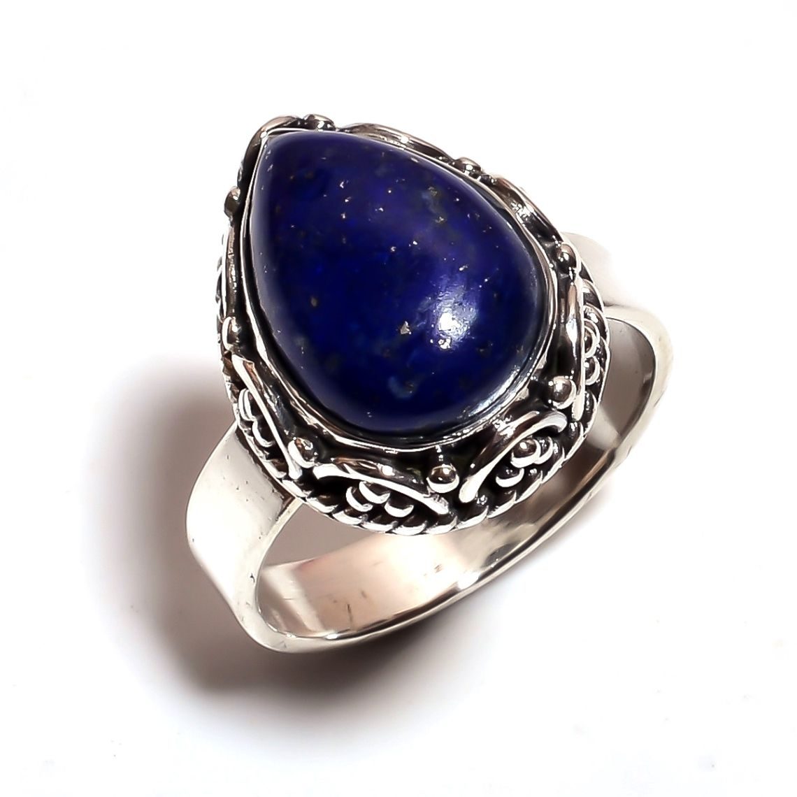 Lapis Gemstone 925 Sterling Silver Ring Size 7.75