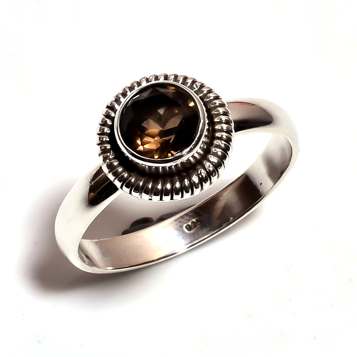 Smoky Gemstone 925 Sterling Silver Ring