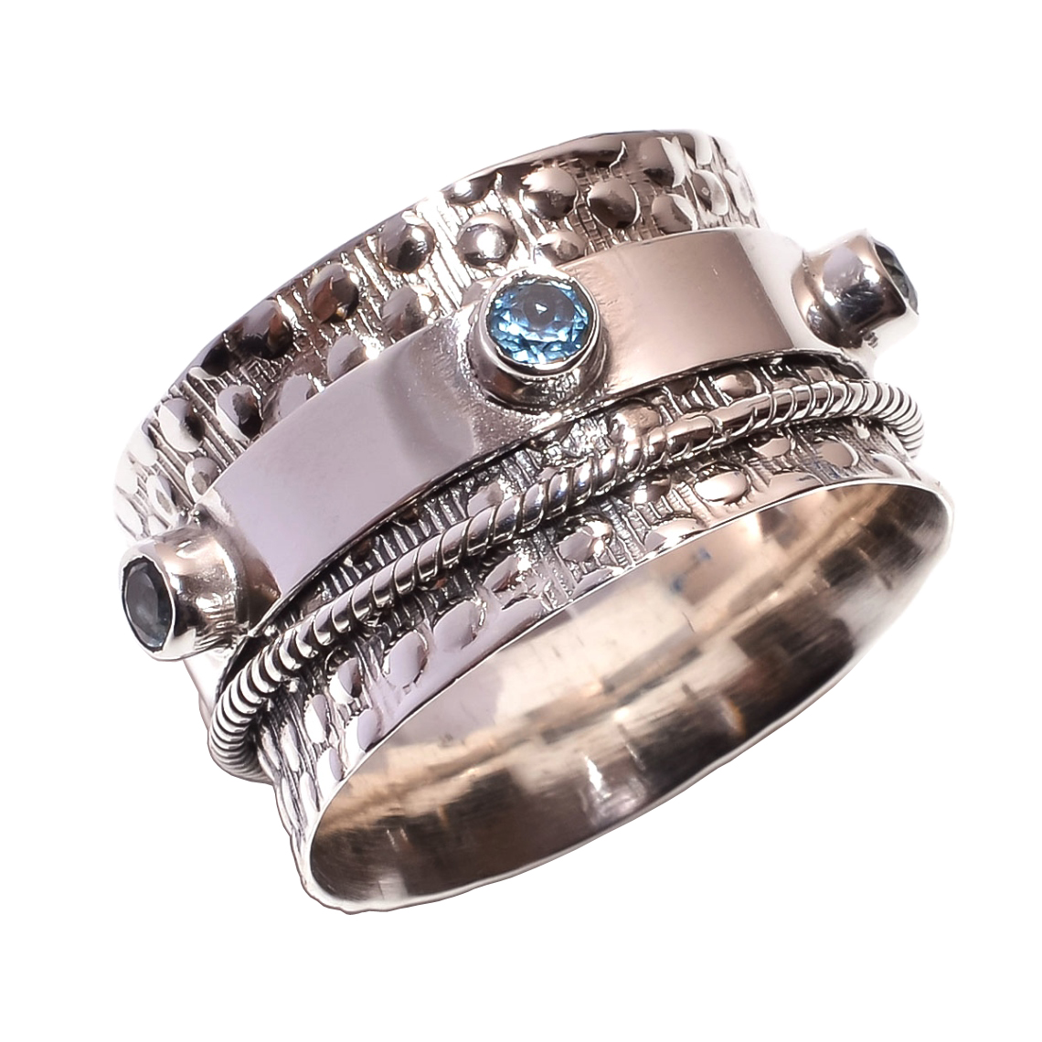 Blue Topaz Gemstone 925 Sterling Silver Meditation Ring