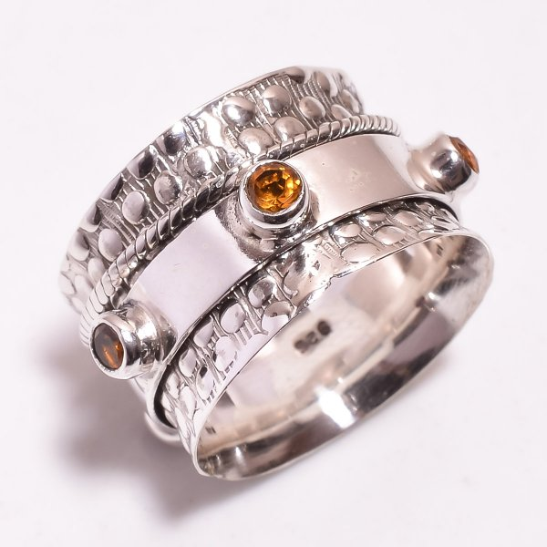 Citrine Gemstone 925 Sterling Silver Meditation Ring