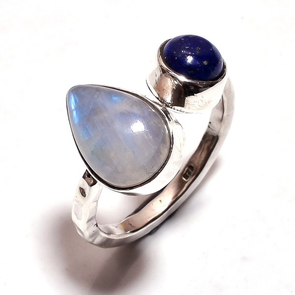 Rainbow Moonstone Lapis Gemstone 925 Sterling Silver Ring Size 5.75 Adjustable
