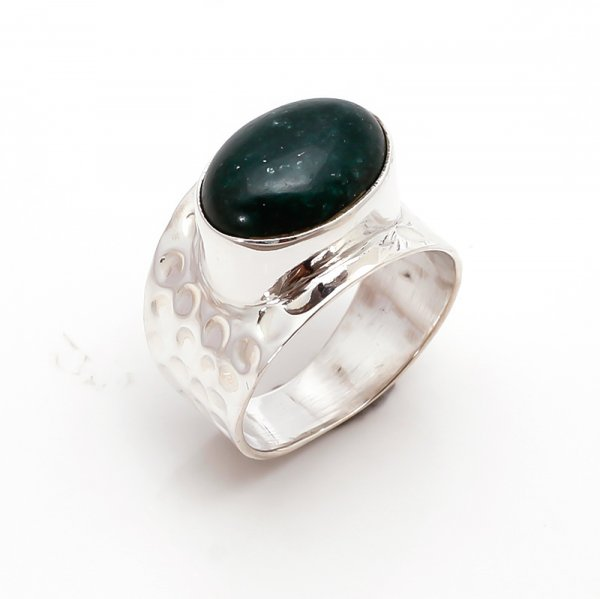 Agate Gemstone 925 Sterling Silver Ring Size 7.5