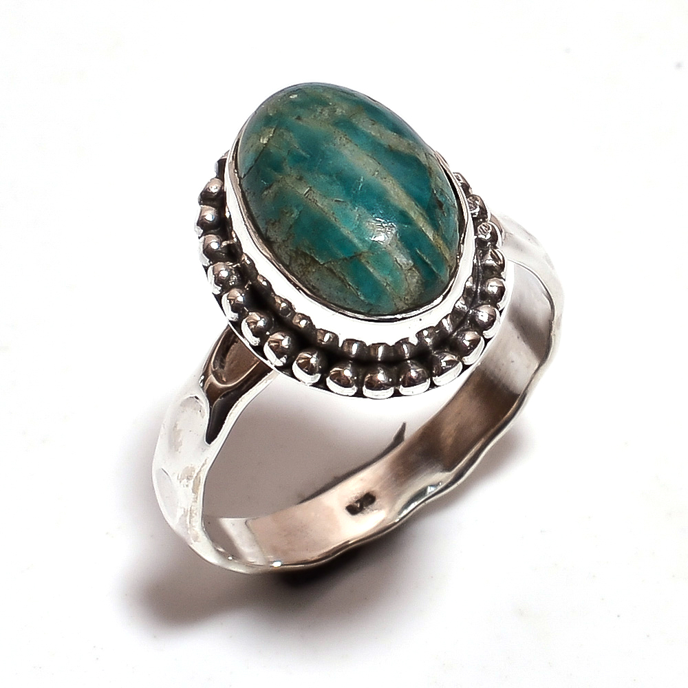 Amazonite Gemstone 925 Sterling Silver Ring Size 7