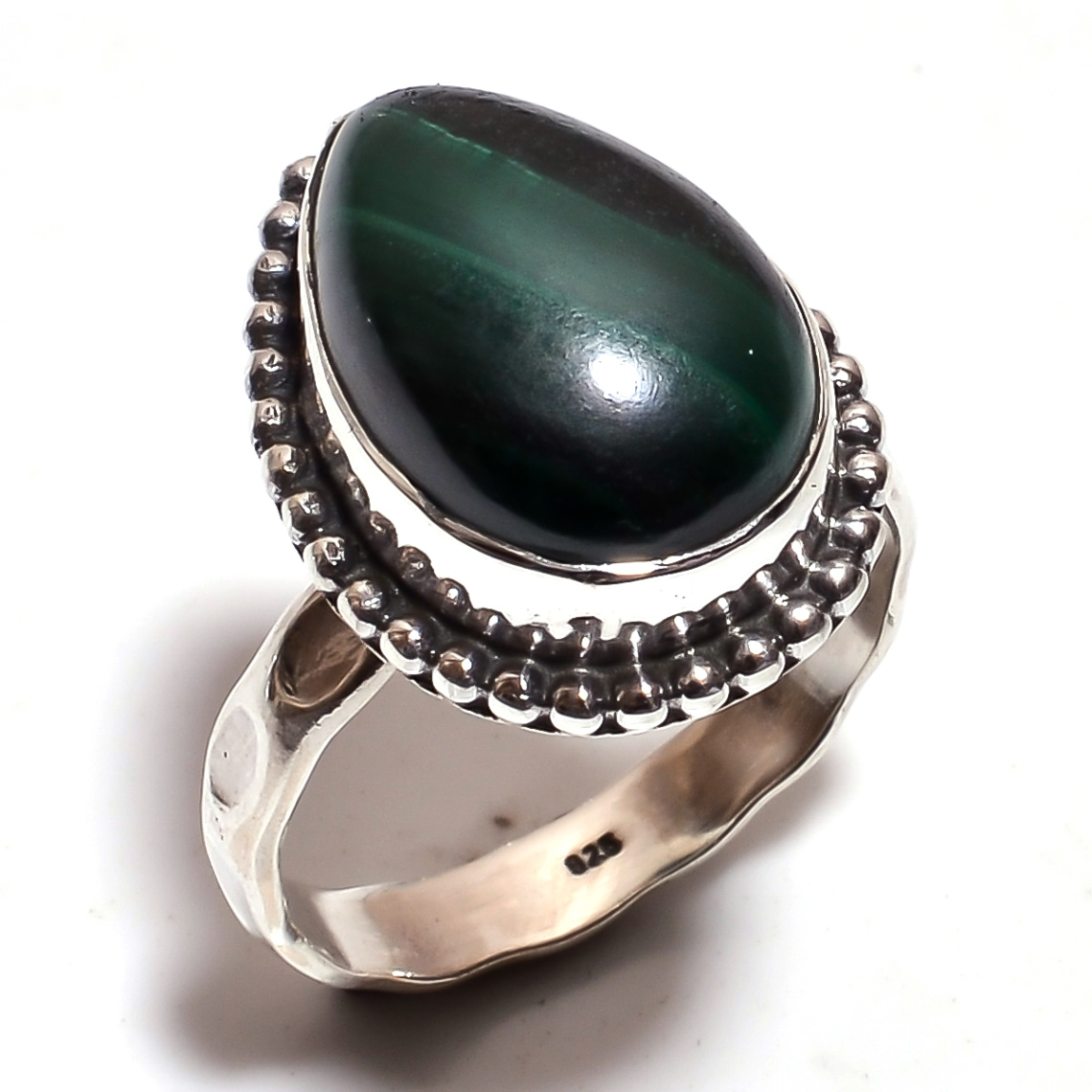 Malachite Gemstone 925 Sterling Silver Ring Size 6