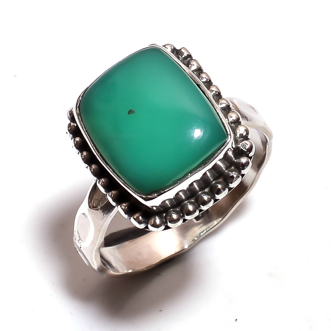 Turquoise Gemstone 925 Sterling Silver Hammered Ring