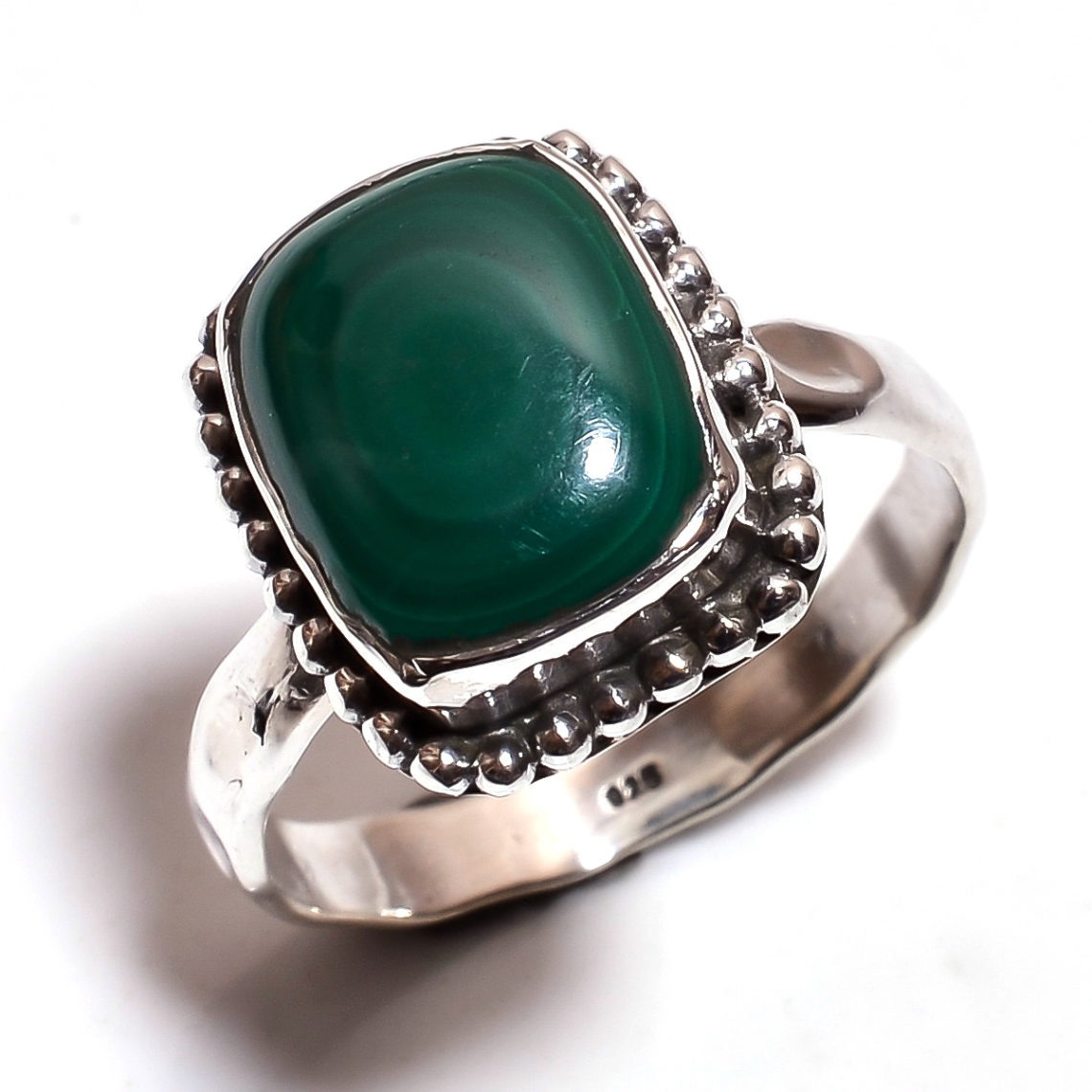 Malachite Gemstone 925 Sterling Silver Hammered Ring Size 8