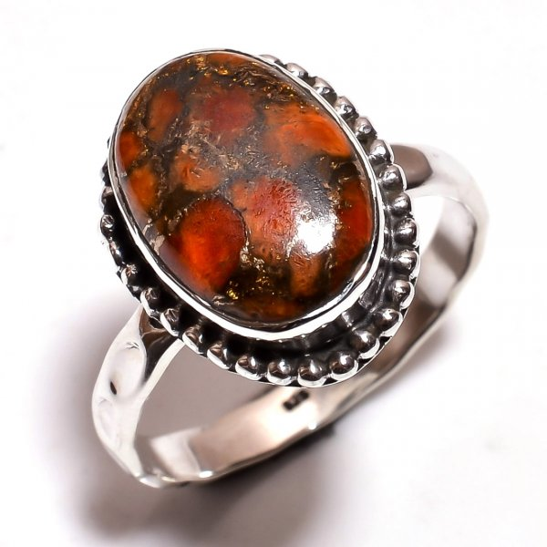 Orange Copper Turquoise Gemstone 925 Sterling Silver Hammered Ring Size 9