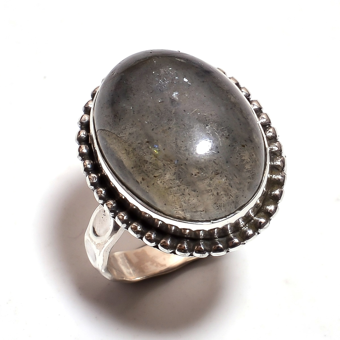 Labradortie Gemstone 925 Sterling Silver Hammered Ring Size 6.25