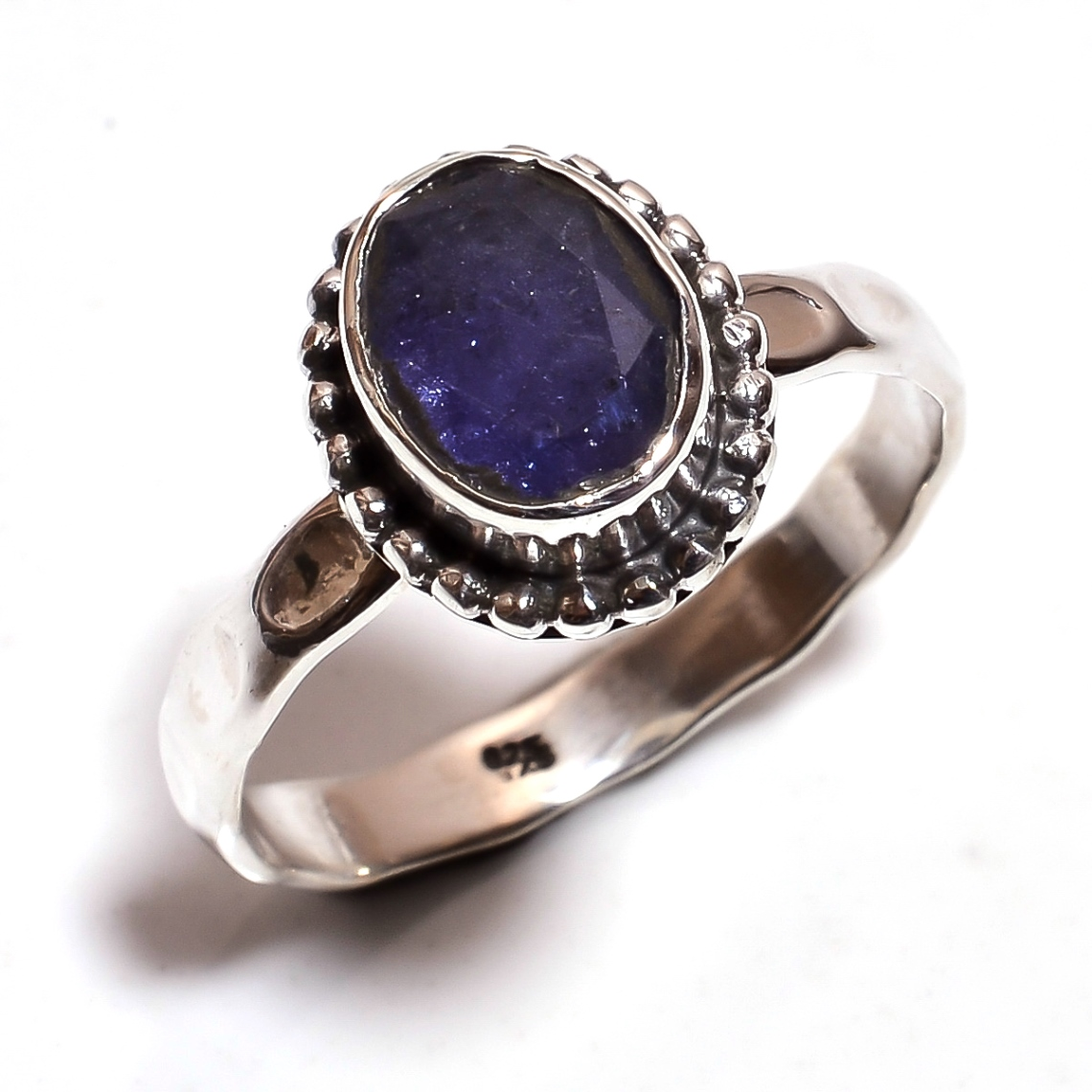 Tanzanite Gemstone 925 Sterling Silver Hammered Ring Size 10