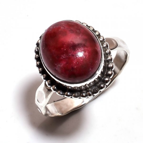 Jasper Gemstone 925 Sterling Silver Hammered Ring Size 8.25