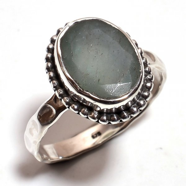 Moonstone 925 Sterling Silver Hammered Ring Size 10