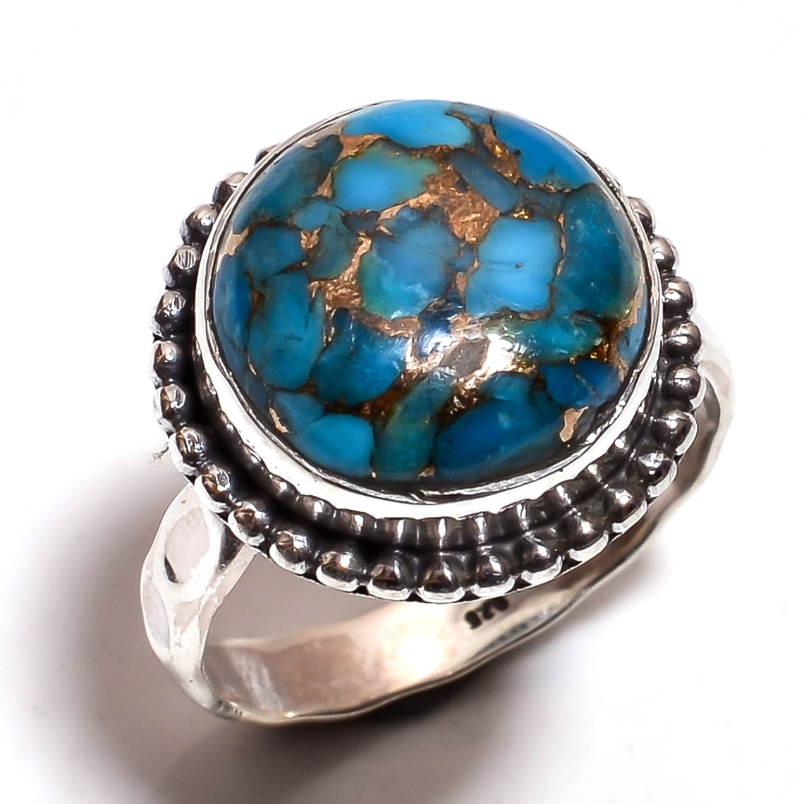 Blue Copper Turquoise Gemstone 925 Sterling Silver Hammered Ring Size 6.25