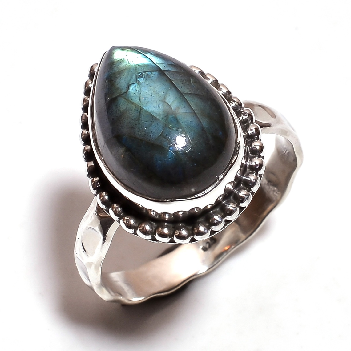 Labradorite Gemstone 925 Sterling Silver Hammered Ring Size 8