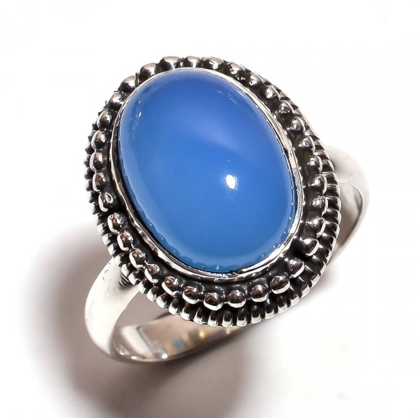 Chalcedony Gemstone 925 Sterling Silver Ring Size US 9