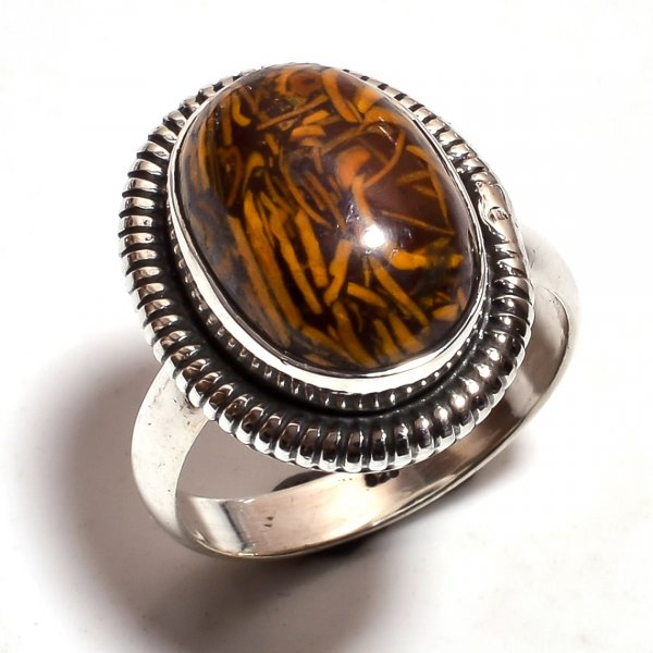 Jasper Gemstone 925 Sterling Silver Ring Size 7