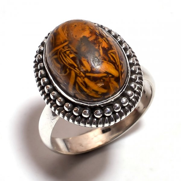 Jasper Gemstone 925 Sterling Silver Ring Size 7.25