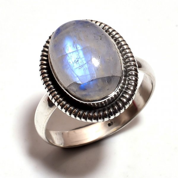 Rainbow Moonstone 925 Sterling Silver Ring Size 9.25
