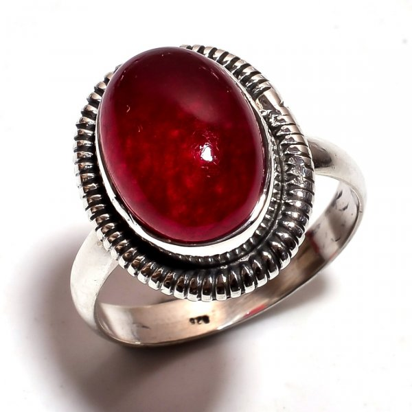 Red Jade Gemstone 925 Sterling Silver Ring Size 9.25