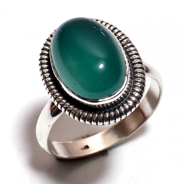 Green Onyx Gemstone 925 Sterling Silver Ring