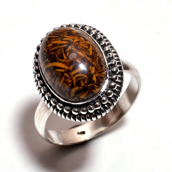 Jasper Gemstone 925 Sterling Silver Ring Size 8.25