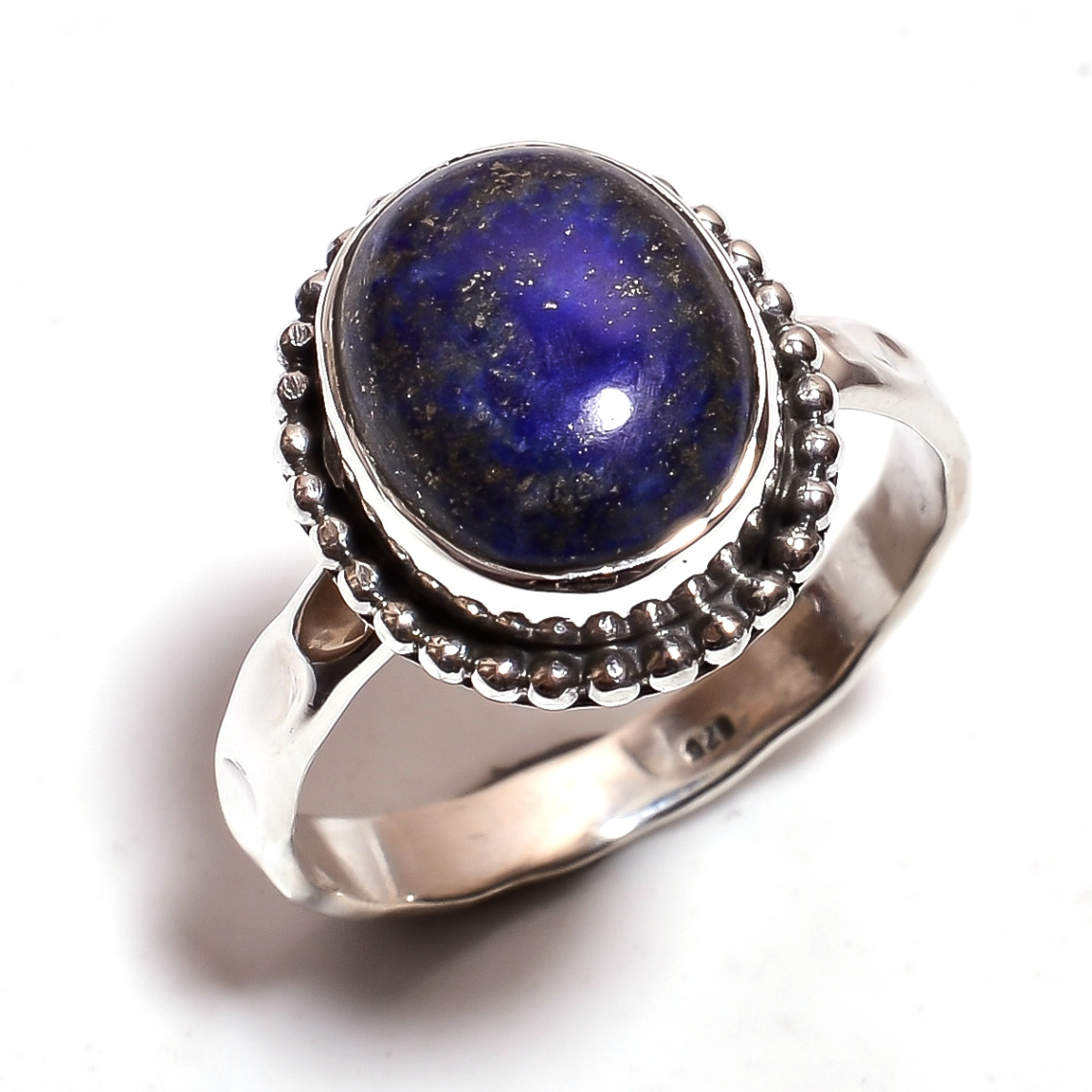 Lapis Gemstone 925 Sterling Silver Hammered Ring Size
