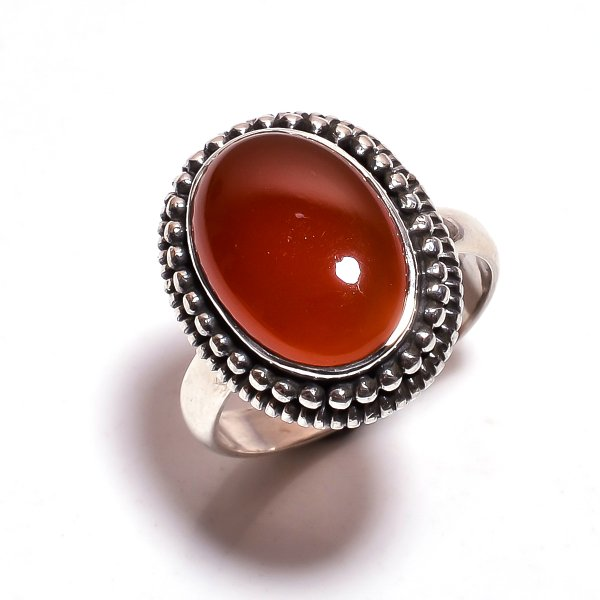 Red Onyx Gemstone 925 Sterling Silver Ring Size 8