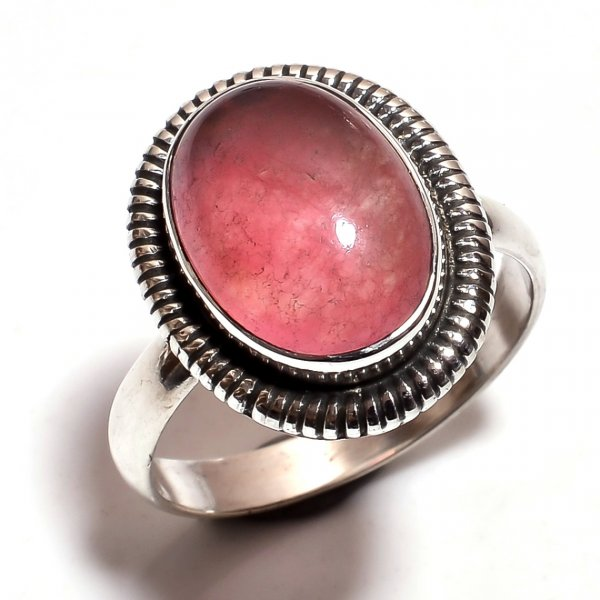 Pink Jade Gemstone 925 Sterling Silver Ring Size 6.5