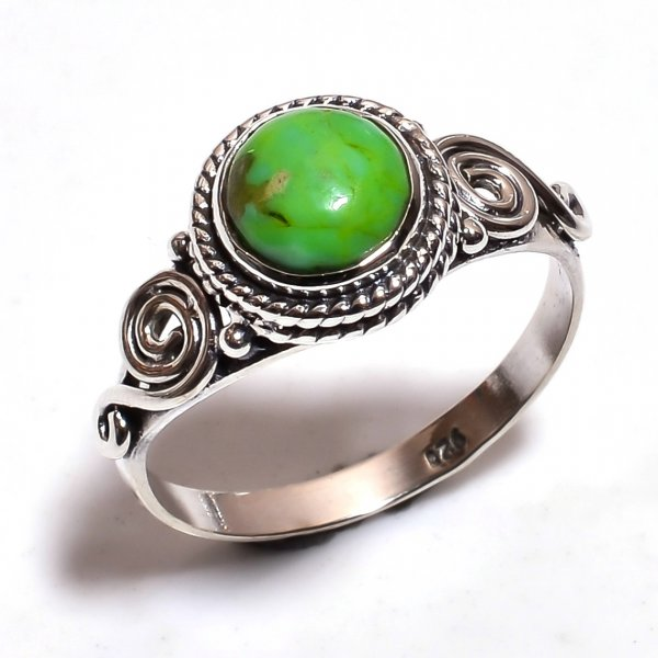 Green Copper Turquoise Gemstone 925 Sterling Silver Ring Size 7.5