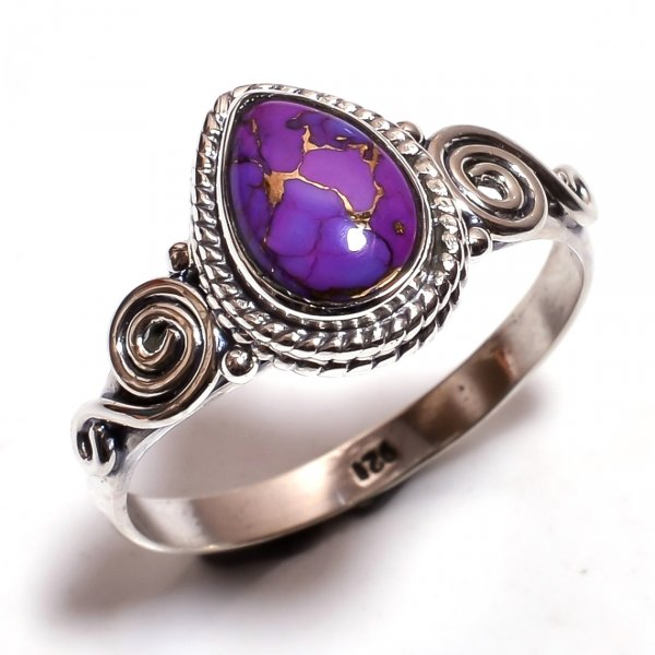 Purple Copper Turquoise Gemstone 925 Sterling Silver Ring Size 9
