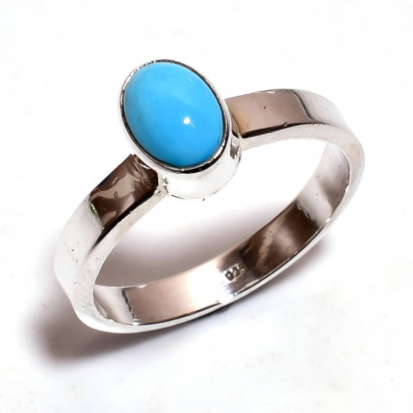 Sleeping Beauty Turquoise Gemstone 925 Sterling Silver Ring Size 6.5