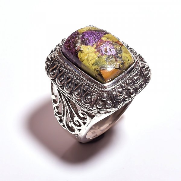 Stichtite Gemstone 925 Sterling Silver Ring Size 9.5