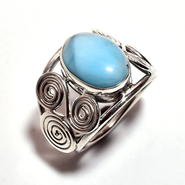 Larimar Gemstone 925 Sterling Silver Ring Size 7.75