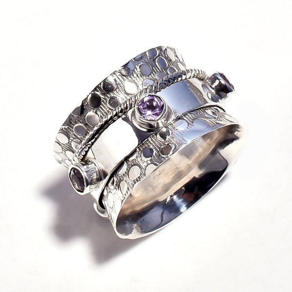 Amethyst Gemstone 925 Sterling Silver Meditation Ring