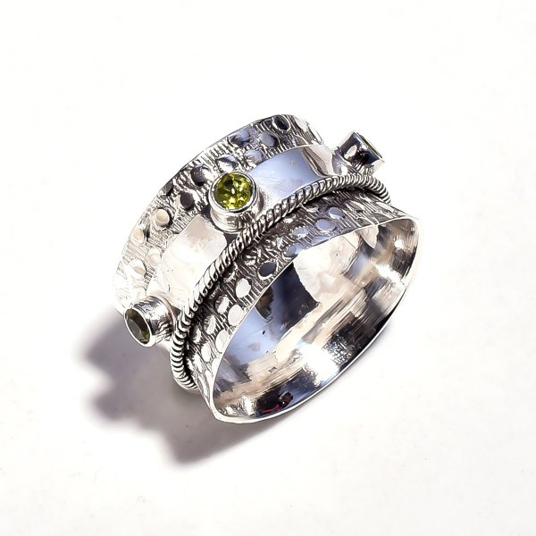Peridot Gemstone 925 Sterling Silver Meditation Ring