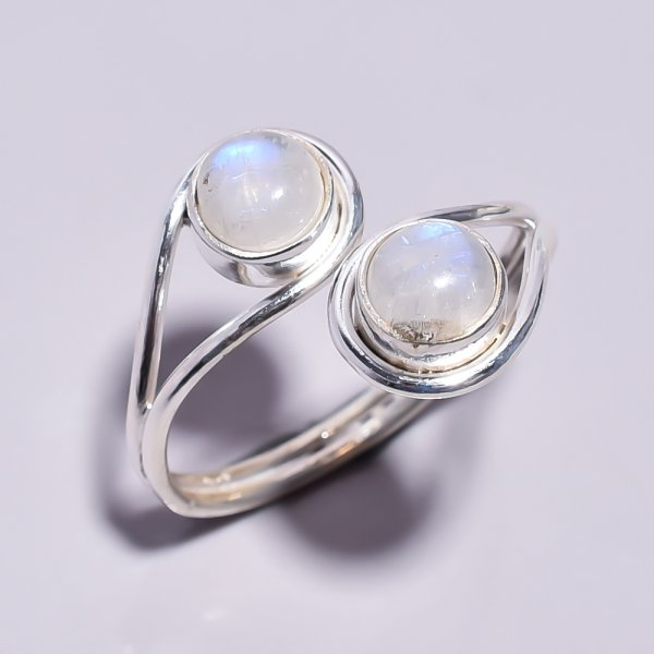 Rainbow Moonstone 925 Sterling Silver Ring Size 5 Adjustable