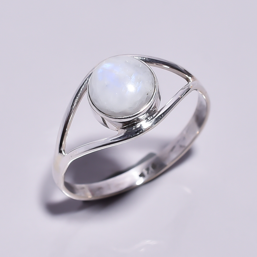 Rainbow Moonstone 925 Sterling Silver Ring Size 8.5
