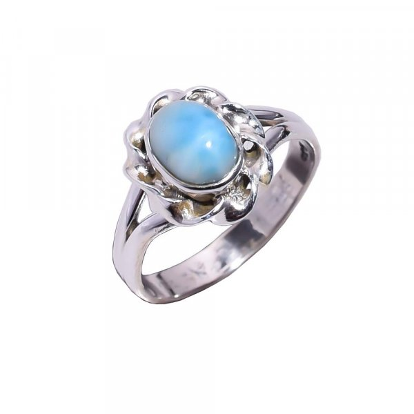 Larimar Gemstone 925 Sterling Silver Ring Size 5.5