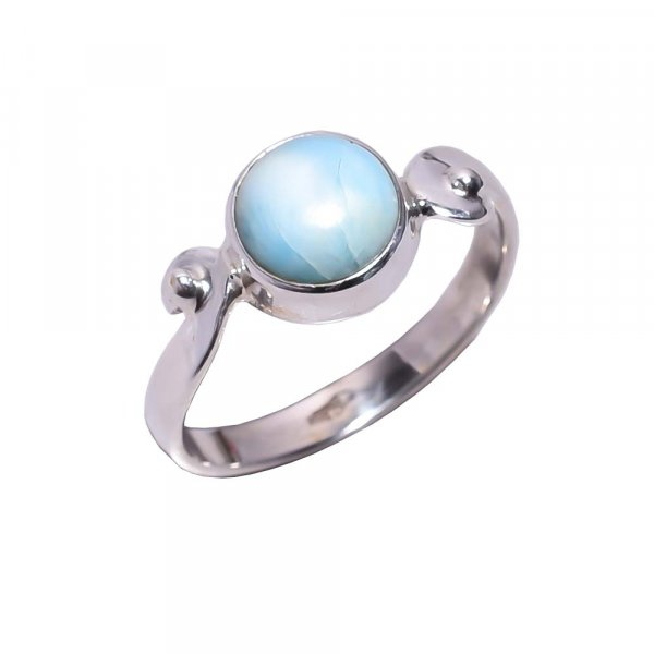 Larimar Gemstone 925 Sterling Silver Ring Size 6.75