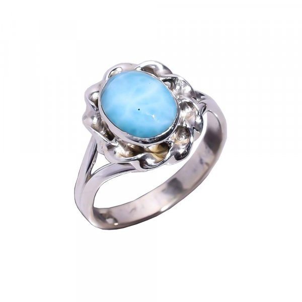 Larimar Gemstone 925 Sterling Silver Ring Size 5.75