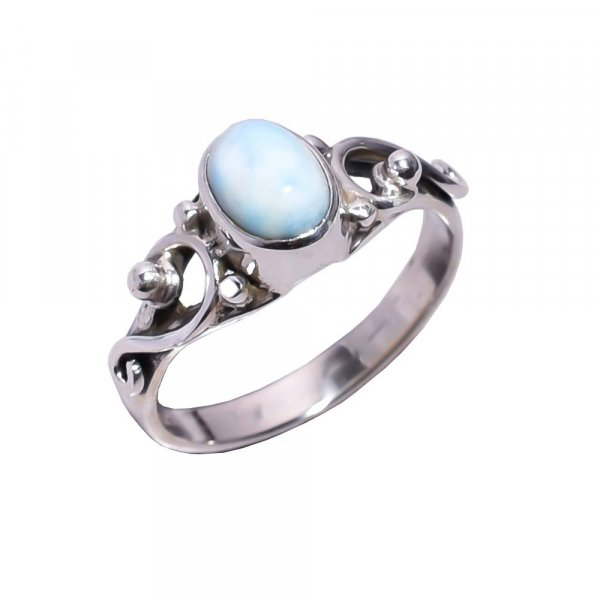 Larimar Gemstone 925 Sterling Silver Ring Size 6.25