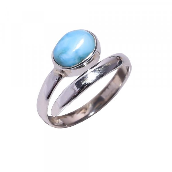 Larimar Gemstone 925 Sterling Silver Ring Size 6.75 Adjustable