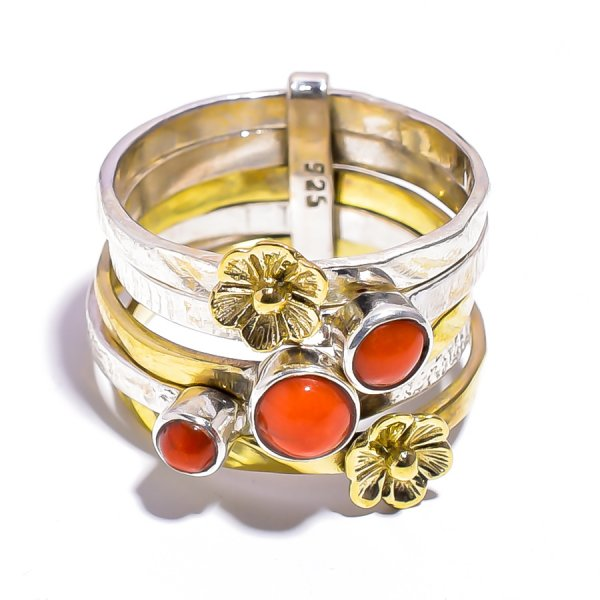 Coral Gemstone 925 Sterling Silver Meditation Ring